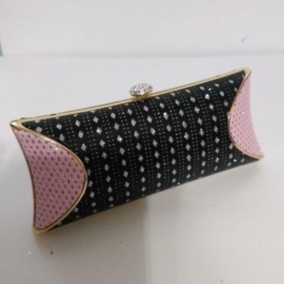 Seleni Handbags - Elegant/Unique/Pretty Pink & Black Sequin Clutch